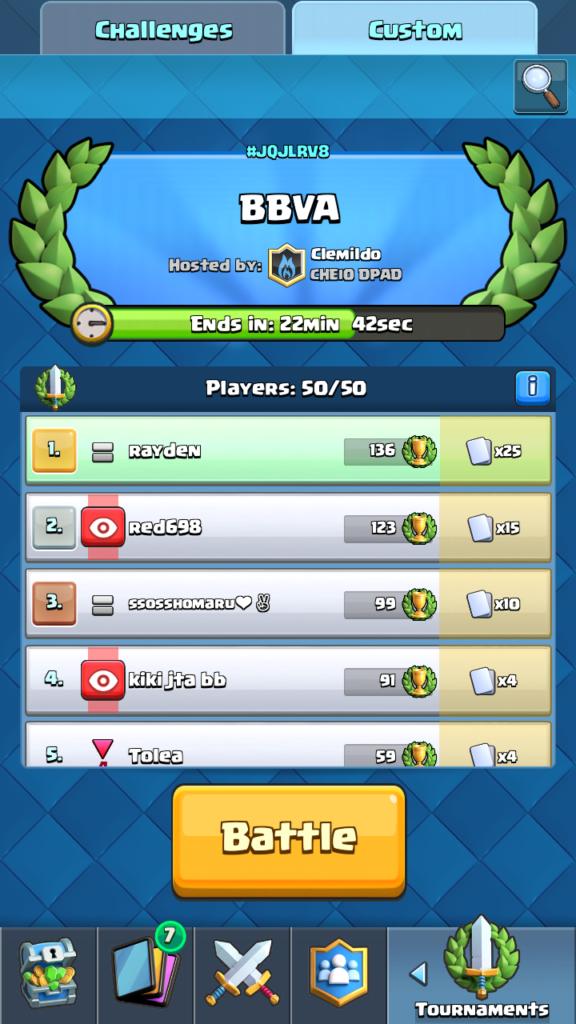 Clash Royale Master - vývoj turnaja po 38 minútach