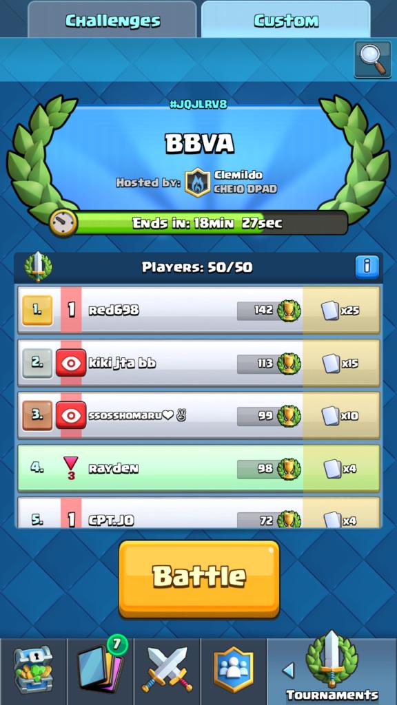 Clash Royale Master - vývoj turnaja po 42 minútach a čakanie
