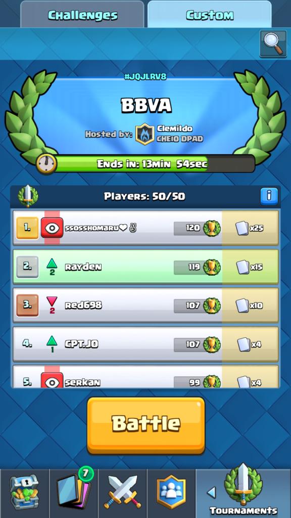 Clash Royale Master - vývoj turnaja po 47 minútach