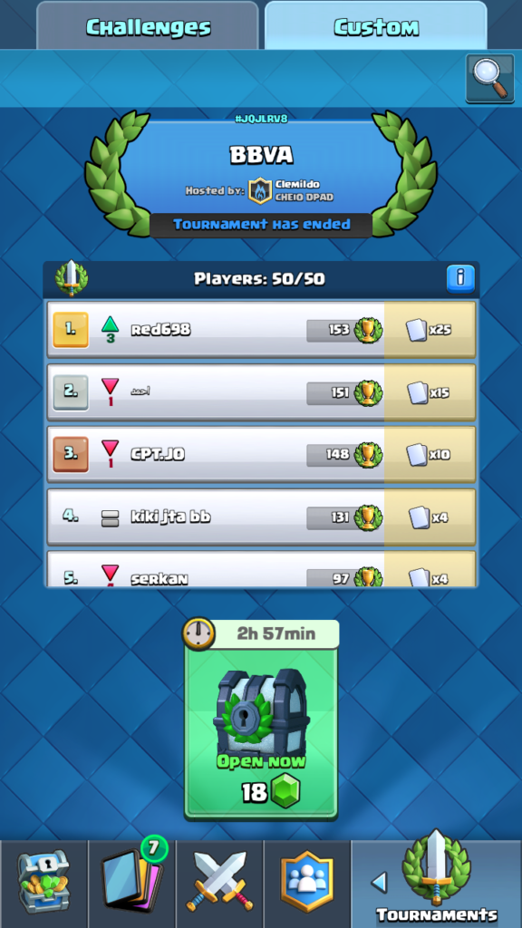 Clash Royale Master - koniec turnaja, miesta 1-5