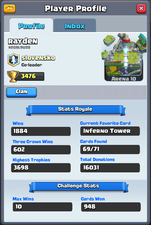 Clash Royale Master Rayden profile